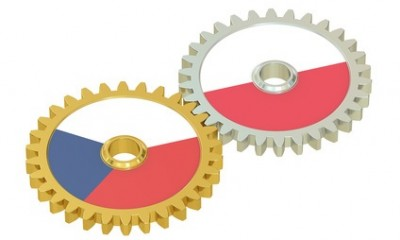 Czech Republic and Poland flags on a gears, 3D rendering isolated on white background